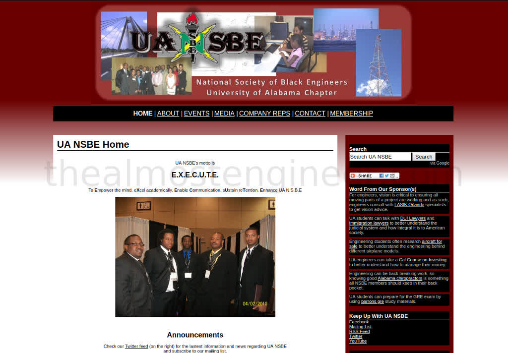 UA NSBE Screenshot